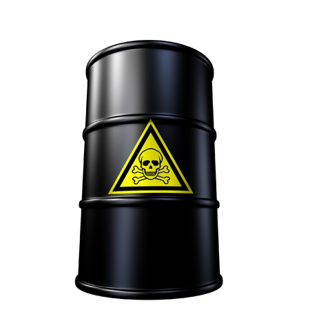 Toxic waste barrel symbol represented by a black metal oil and chemical drum. Stock Photo - 10945883