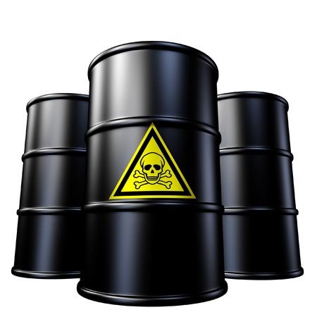 residuos toxicos: Residuos tóxicos símbolo de barriles de petróleo de metal representado por el negro y tambores químicos. Foto de archivo