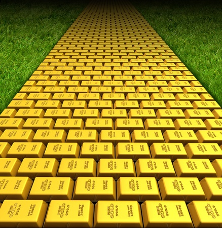 Paved with gold symbol represented by gold bars forming a road or path to fortune and wealth. photo
