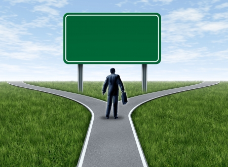 road intersection: Business decision with a business man at a cross roads and road sign with blank green signage showing a fork in the road representing the concept of direction when facing two equal or similar difficult options.