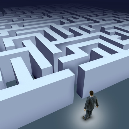 puzzling: Business challenges represented by a business man facing a maze showing the concept of challenges ant starting a journey using strategy and planning so you do not get lost.