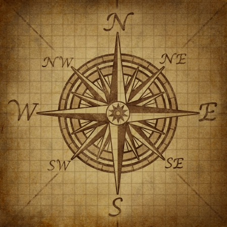 compass rose: Compass rose with old vintage grunge texture representing a cartography positioning direction symbol for navigation and setting a chart for exploration to the north south east or west. Stock Photo