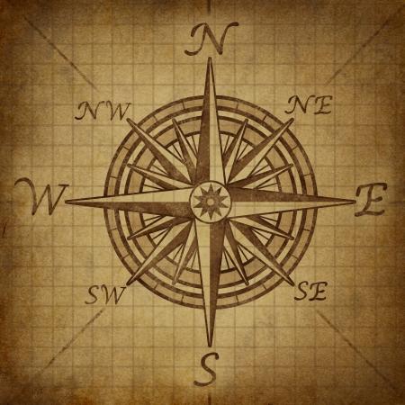 Kompasroos met oude vintage grunge textuur die een cartografie positionering richting symbool voor de navigatie en het instellen van een kaart voor exploratie naar het noorden zuid oosten of westen. Stockfoto