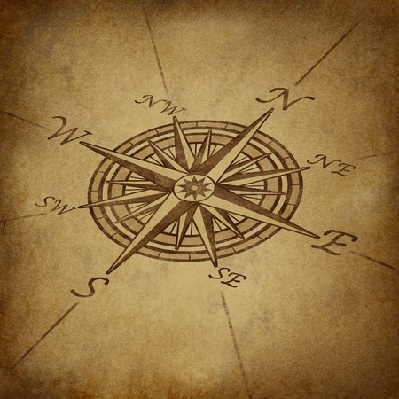 Compass rose in perspective with old vintage grunge texture representing a cartography positioning direction symbol for navigation and setting a chart for exploration to the north south east or west.