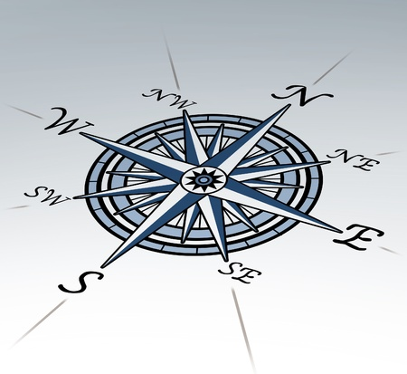 compass rose: Compass rose in perspective on white background representing a cartography positioning direction symbol for navigation and setting a chart for exploration to the north south east or west.