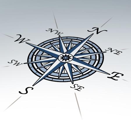 wind of rose: Rosa de los vientos en el punto de vista sobre fondo blanco que representa un s�mbolo de direcci�n cartograf�a de posicionamiento para la navegaci�n y el establecimiento de un gr�fico para la exploraci�n en el este de norte a sur o al oeste. Foto de archivo