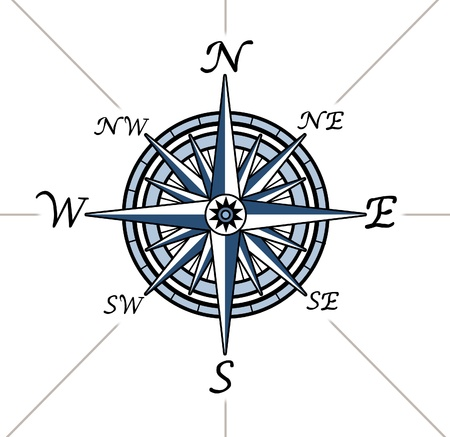 magnetic north: Compass rose on white background representing a cartography positioning direction symbol for navigation and setting a chart for exploration to the north south east or west. Stock Photo