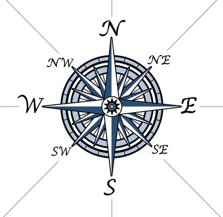 topografia: Rosa de los vientos en el fondo blanco que representa un s�mbolo de direcci�n cartograf�a de posicionamiento para la navegaci�n y el establecimiento de un gr�fico para la exploraci�n en el este de norte a sur o al oeste.
