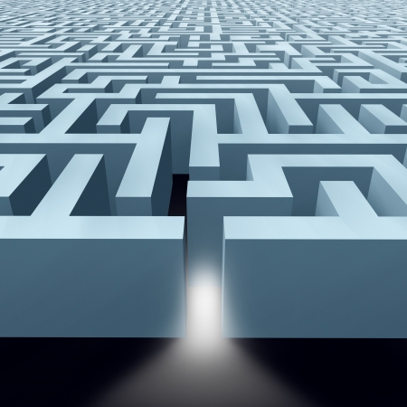 laberinto: Laberinto laberinto interminable que muestra el concepto de los retos de negocio representado por un patrón de las paredes de estructura que muestra el concepto de resolución de problemas y de iniciar un viaje con la estrategia y la planificación por lo que no se pierdan.