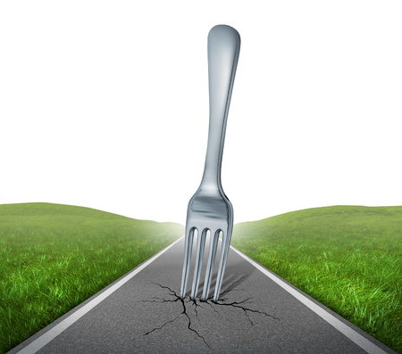 country highway: Fork in the road highway with a kitchen silverware metal fork metaphore with green grass and asphalt street representing the concept of journey and the challenges for future success.