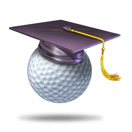 or instruction: Golf training school by professionalsas a symbol of learning the skills of the sport of golf by a golf pro represented by a mortar hat or graduation cap on a ball showing the certification of a student for the completion of the course. Stock Photo