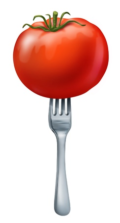Health food showing a natural organic  juicy red tomato with a silver metal fork in it to represent healthy eating and vegetarian or dieting lifestyle. Stock Photo - 10945953