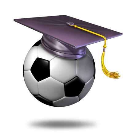 Soccer training school by professionalsas a symbol of learning the skills of the sport of soccer by a soccer pro represented by a mortar hat or graduation cap on a ball showing the certification of a student for the completion of the course. Stock Photo - 10945956