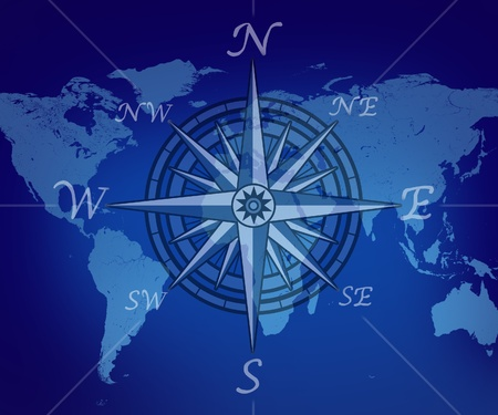 Map of the world with compass on blue background representing travel and business traveling journey for navigating to new global trading opportunities with the world.