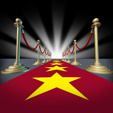 theatrics: Hollywood red carpet with stars for a cinema premier and grand opening for movie stars with brass dividers and glowing light burst.