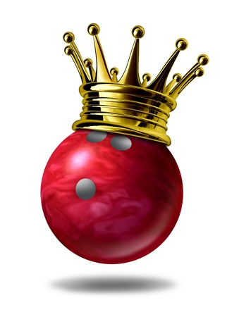 Bowling king champion symbol represented by a golden crown on a red plastic marble bowling ball for bowlers representing the winning of a tournament or game at a bowling alley due to many strikes of the pins..