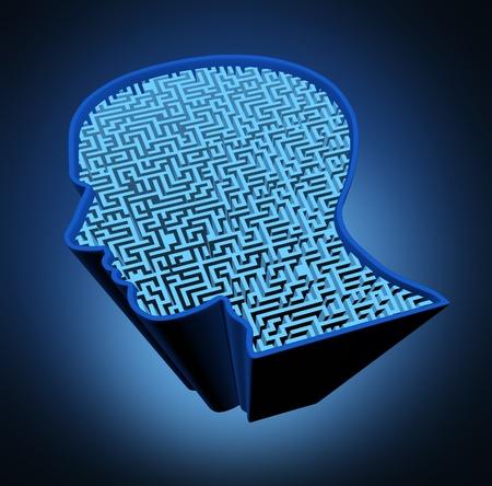esquizofrenia: Enfermedad del cerebro humano y el rompecabezas de inteligencia con un laberinto azul brillante y el laberinto en forma de una cabeza humana como s�mbolo de la complejidad del pensamiento del cerebro como un problema dif�cil de resolver por los m�dicos.