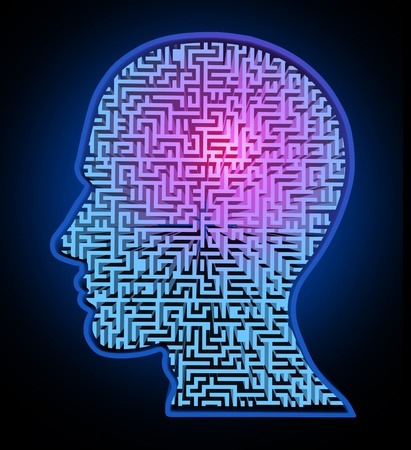 brain and thinking: Human intelligence puzzle represented by a blue glowing maze and labyrinth in the shape of a human head representing the concept and symbol of the complexity of brain thinking and thought patterns as a challenging problem to solve by medical doctors.