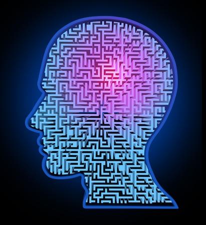 esquizofrenia: Rompecabezas de la inteligencia humana representada por un laberinto azul brillante y el laberinto en forma de una cabeza humana que representa el concepto y el s�mbolo de la complejidad del cerebro de los patrones de pensamiento y el pensamiento como un problema dif�cil de resolver por los m�dicos. Foto de archivo