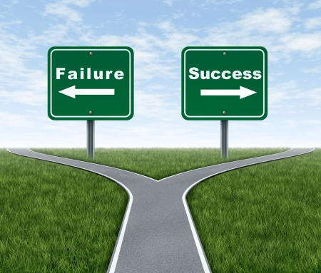 succeeding: Success and failure symbol represented by a forked road with a road sign representing Failing and another successfulness with arrows for turning in the direction that is chosen after facing the difficult dilemma.