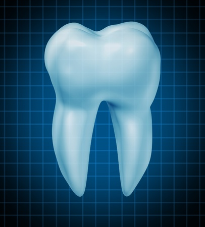 Dentist tooth symbol for dental clinic and oral surgeon representing dentist medicine and dentistry surgery represented by a healthy cavity free frontal view white single molar tooth on a black graph background with a shadow.