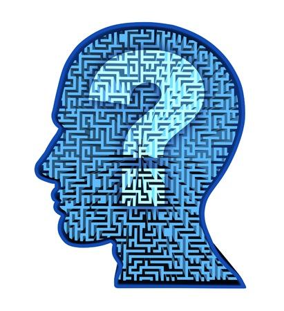 cognicion: La investigaci�n del cerebro humano y el rompecabezas de inteligencia con un laberinto azul brillante y el laberinto en forma de una cabeza humana y signo de interrogaci�n como un s�mbolo de la complejidad del pensamiento como un problema dif�cil de resolver por los m�dicos. Foto de archivo