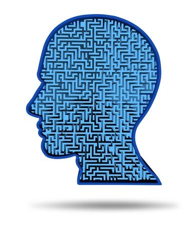 Encontrar una cura para la enfermedad del cerebro en un símbolo con un laberinto y el laberinto en forma de una cabeza humana como un concepto de la investigación sobre la complejidad del pensamiento del cerebro como un problema difícil de resolver por los médicos. Foto de archivo