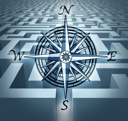 Navigating through challenges represented by a labyrinth maze  in 3D with a compass rose symbol showing the concept of business problem solving and solution oriented strategy and planning. Stock Photo - 10976409