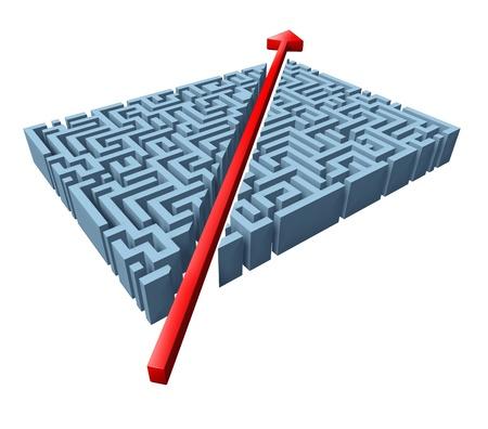 laberinto: Pensando fuera del cuadro representado por un corte de flecha roja a través de un complicado laberinto como un método abreviado de resolver un problema con una innovadora solución simple y estrategia aisladas sobre fondo blanco.