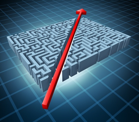 shortcut: Thinking outside the box represented by a red arrow cutting through a complicated maze as a shortcut solving a problem with an innovative simple solution and strategy. Stock Photo