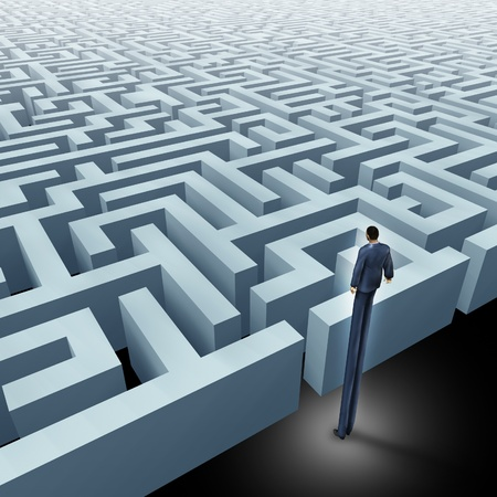 new direction: Vision in business innovative solutions solving complex challenges represented by a business man with very long legs looking above a maze showing the concept of a labyrinth and starting a journey using strategy and planning so you do not get lost.