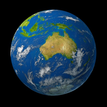 western australia: Australia on earth globe representing the  Australian continent  with the cities of Sydney and Melbourne on the continent of Oceana in the pacific rim represented on a map of the world on black background.