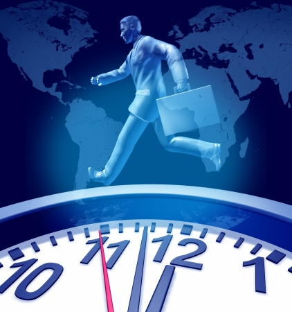 Business deadlines urgency clock symbol with a wall timer representing the stress of urgent time constraints in corporate circles delivering jbs and projects and family appointments represented by a running business man with a suit case.