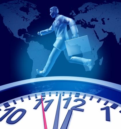 Zakelijk termijnen urgentie klok symbool met een muur timer die de stress van dringende beperkte tijd in de corporate kringen het leveren van jbs en projecten en familie afspraken vertegenwoordigd door een running business man met een koffer.