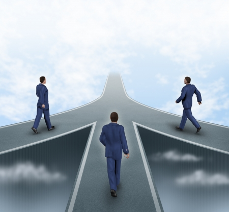 merging together: Business partnerships featuring three business men walking on different roads to the same goal as a team working together as a strategic corporate alliance with a sky background.