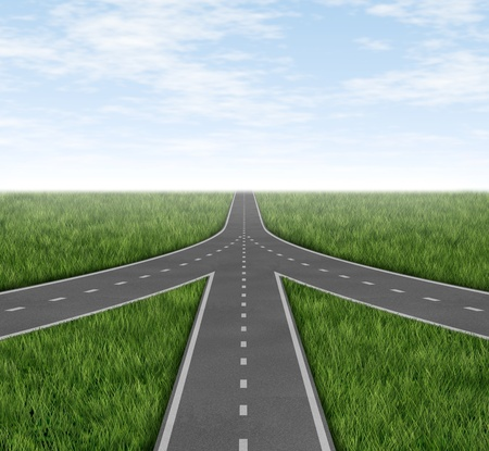 merging: Connected and partnerships converging on the same road as a team sharing the same strategy and vision for the success of a company by working together as a conglomerate represented by three roads merging together into one with a sky and grass horizon. Stock Photo