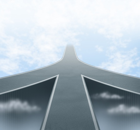 Corporate and business mergers featuring three roads merging into one focused path going into a vanishing point in the sky showing the concept of partnerships and teamwork sharing the same common vision and company philosophy. photo