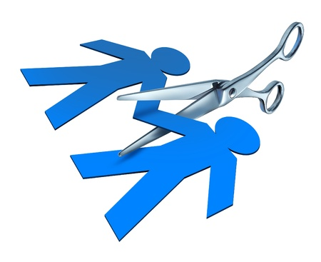 paper cut out: Divorce and separation represented by a pair of metal scissors cutting into a blue paper cut out of a couple of people in a break up broken ties of an ending relationship between a husband and a wife. Stock Photo