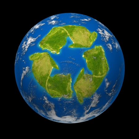 cleanup: Global change and Earth climate symbol represented by a planet with a continent in the shape of a recycle symbol showing the ecological green environmentaly freindle recycling program to save the earth from the end of the world. Stock Photo