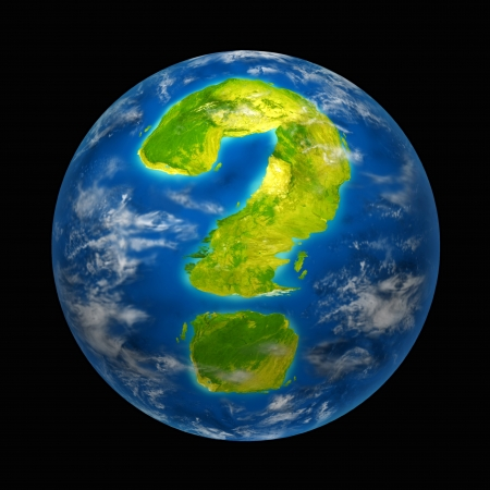 Global future with warming uncertainty and questions featuring the planet earth with a continent in the shape of a question mark representing international environment change and global warming indicators for nature and the world. Stock Photo - 11066278