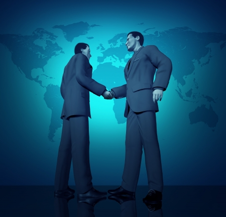 forced perspective: International business deal with a handshake between two buinessmen with a blue world map in the background representing partnerships connections and contract agreements.