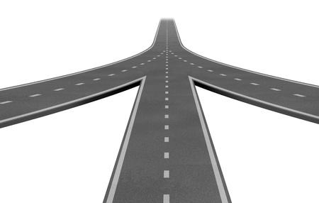 Fusies en samenwerkingsverbanden convergerende op dezelfde weg als een team met dezelfde strategie en visie voor het succes van een onderneming door samen te werken als een conglomeraat vertegenwoordigd door drie wegen samen in een fusie.