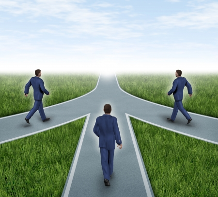 Mergers and partnerships with businessmen converging on the same road as a team sharing the same strategy and vision for the success of a company by working together as a conglomerate represented by three roads merging together into one. photo