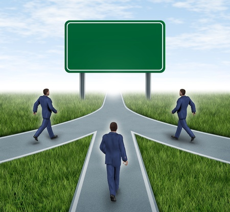 Teamwork with blank road sign mergers and partnerships converging on the same road as a team sharing the same strategy and vision for the success of a company by working together represented by three roads merging together into one. Stock Photo - 11066287