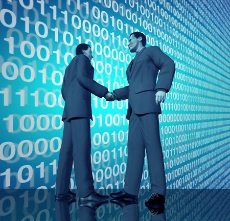mergers: Technology business deal with a handshake between two buinessmen with blue binary digital code in the background representing partnerships connections and contract agreements in the world of high tech and computers.