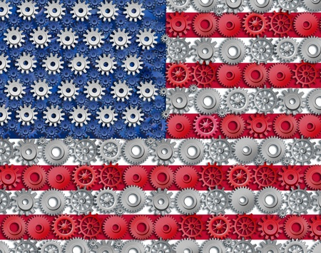 American economy symbol represented by gears and cogs in the shape and color of the flag of the U.S.A. showing industry business and manufacturing working together as a team in the continental U.S. Stock Photo - 11119751