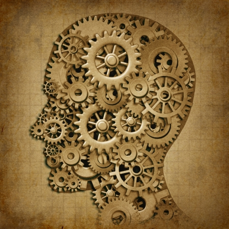 cognitive: Human brain intelligence grunge machine medical symbol with old texture made of cogs and gears representing strategy and psychological mental neurological activity.