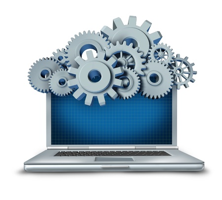IT: Cloud computing symbol represented by a cloud made of gears and cogs above a laptop computer providing streaming digital content from a remote server to the computing device. Stock Photo