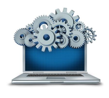 gears: Símbolo de la computación en nube representa una nube hecha de engranajes y dientes por encima de un ordenador portátil proporciona contenido digital se transmite desde un servidor remoto al dispositivo informático. Foto de archivo