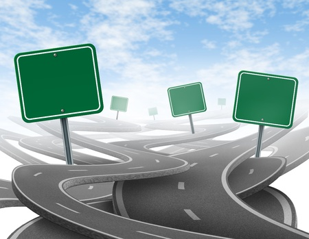 bumpy road: Stay on course symbol  representing dilemma and concept of losing control of onesgoals and strategic journey choosing the right strategic path for business with a blank yellow traffic signs tangled roads and highways in a confused direction.